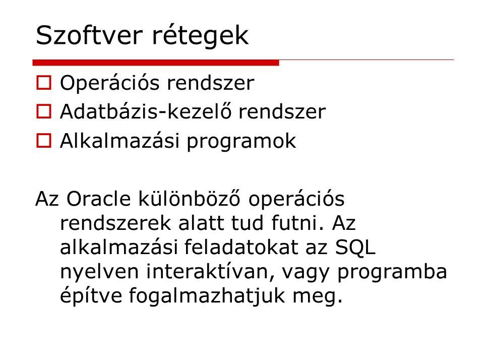 Szoftver rétegek Operációs rendszer Adatbázis-kezelő rendszer