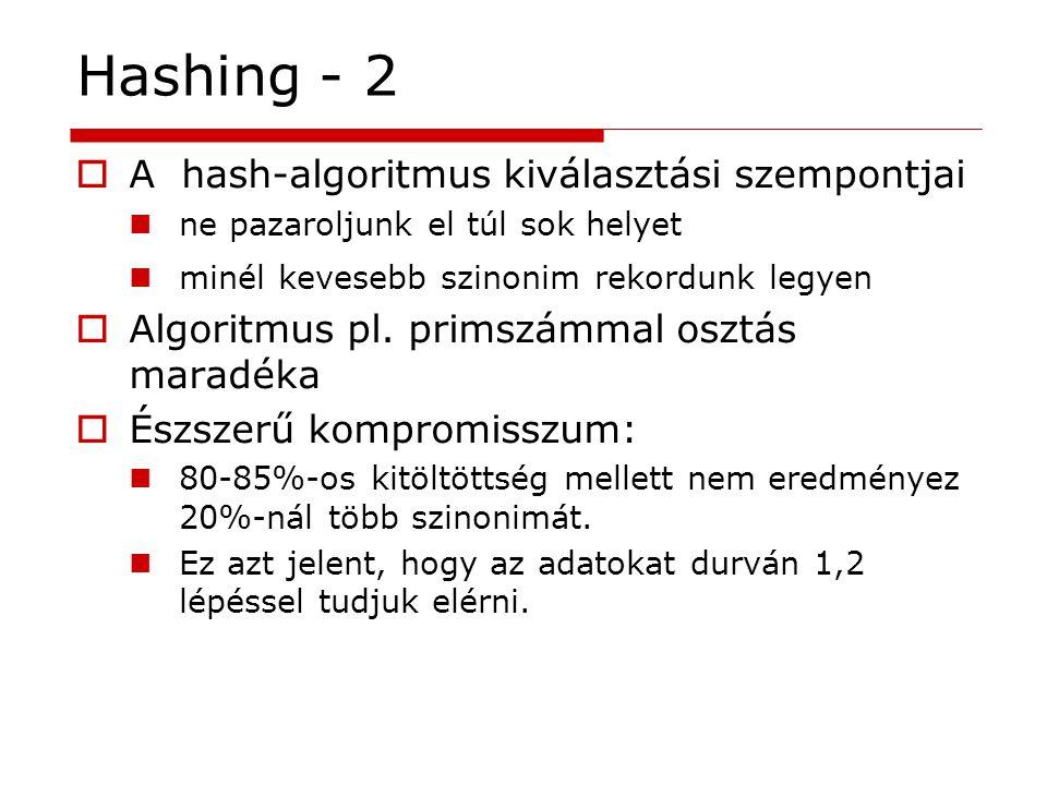 Hashing - 2 A hash-algoritmus kiválasztási szempontjai