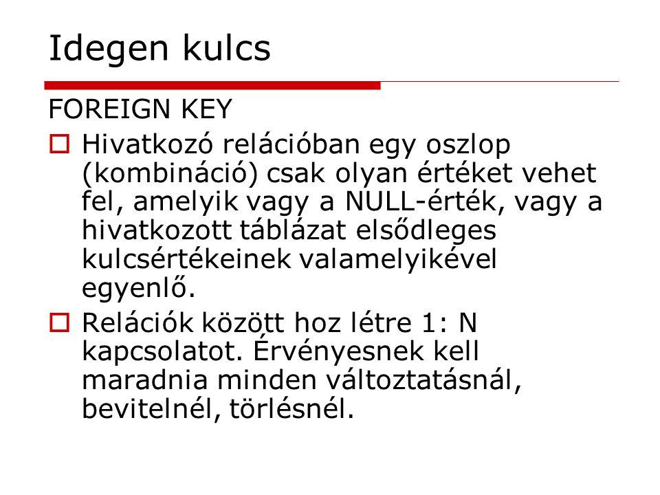 Idegen kulcs FOREIGN KEY