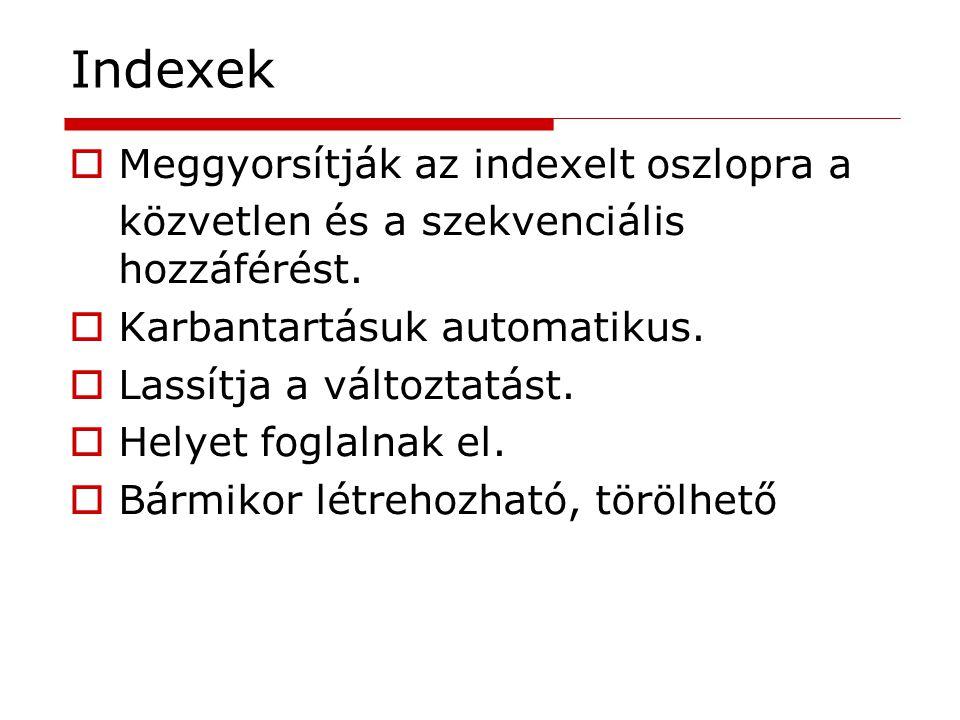 Indexek Meggyorsítják az indexelt oszlopra a