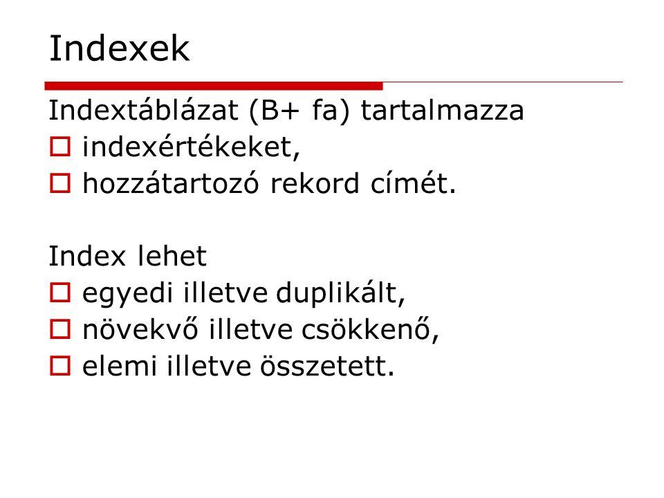 Indexek Indextáblázat (B+ fa) tartalmazza indexértékeket,