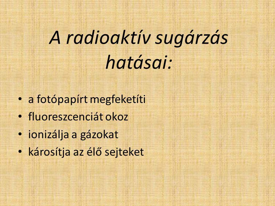 A radioaktív sugárzás hatásai: