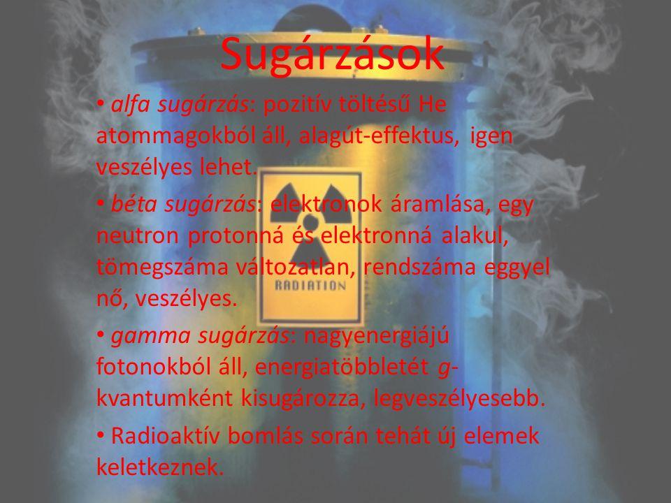 Sugárzások alfa sugárzás: pozitív töltésű He atommagokból áll, alagút-effektus, igen veszélyes lehet.