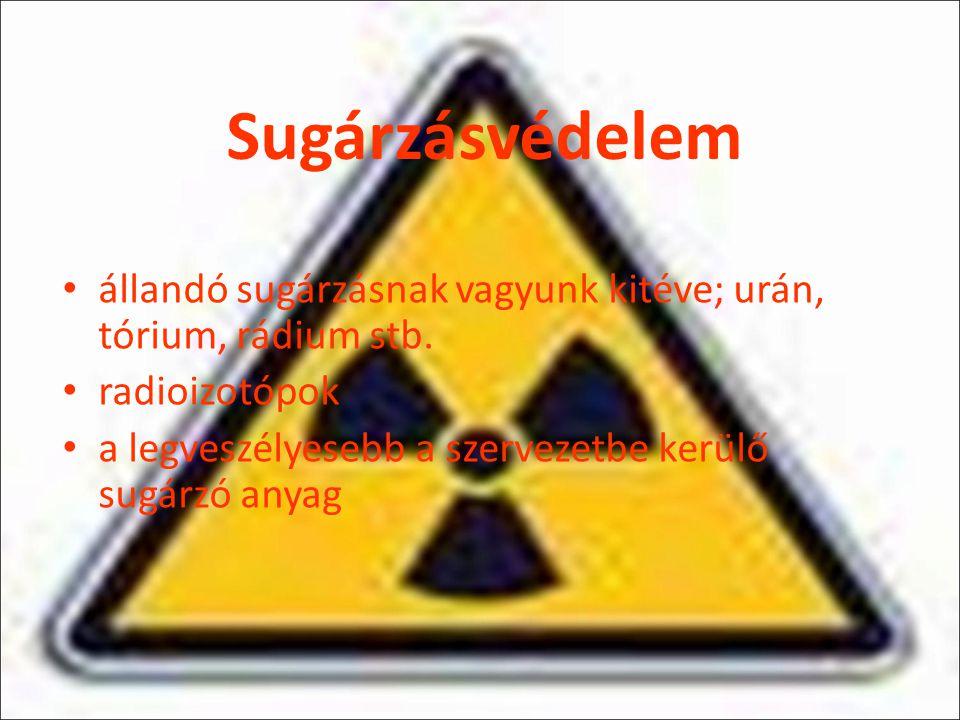Sugárzásvédelem állandó sugárzásnak vagyunk kitéve; urán, tórium, rádium stb.
