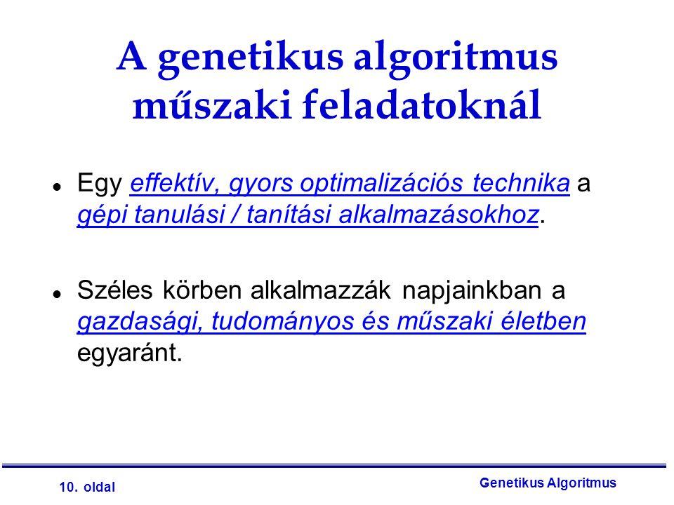 A genetikus algoritmus műszaki feladatoknál