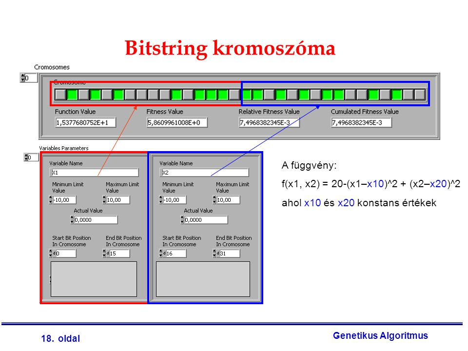 Bitstring kromoszóma A függvény: