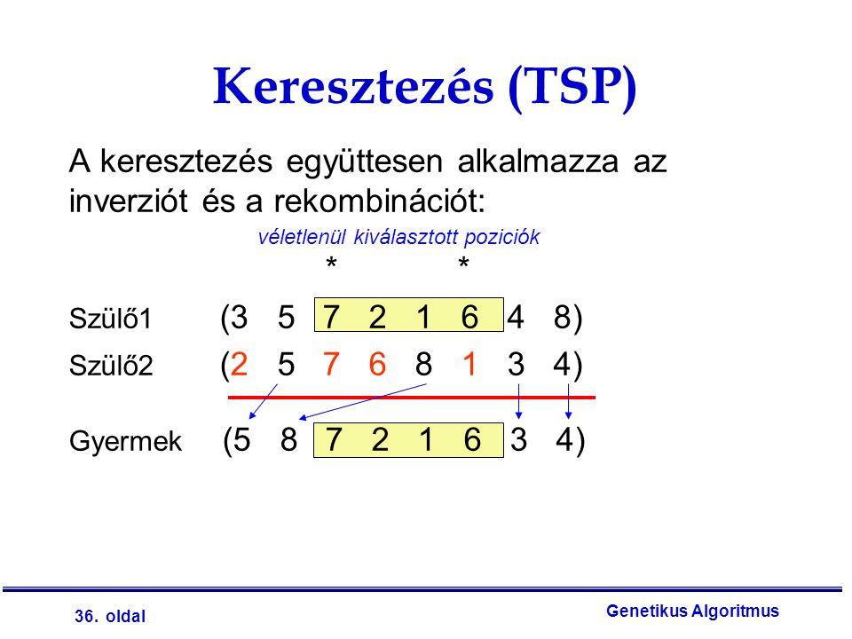 Keresztezés (TSP) A keresztezés együttesen alkalmazza az