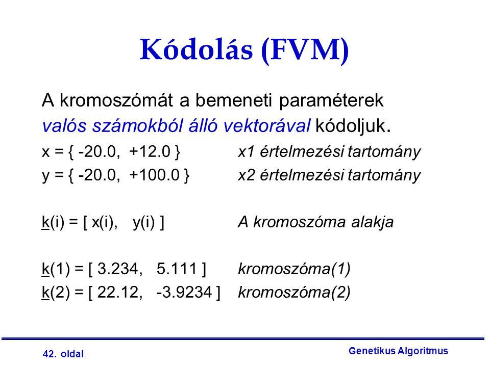 Kódolás (FVM) A kromoszómát a bemeneti paraméterek