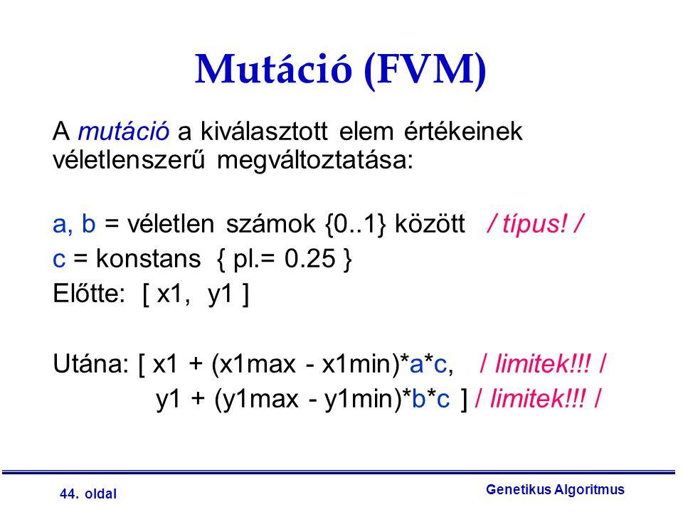 Mutáció (FVM) A mutáció a kiválasztott elem értékeinek