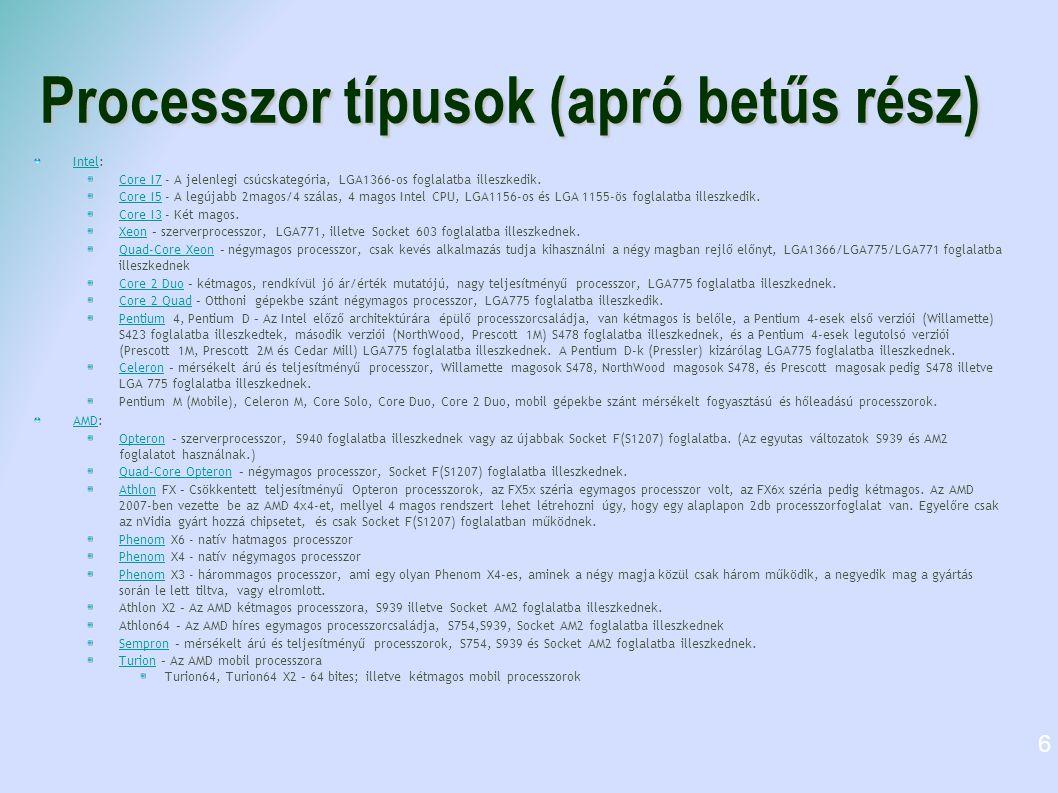 Processzor típusok (apró betűs rész)
