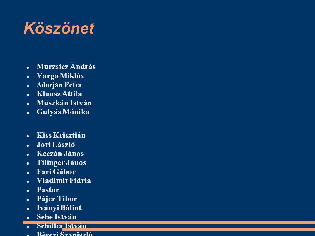Köszönet Murzsicz András Varga Miklós Klausz Attila Muszkán István