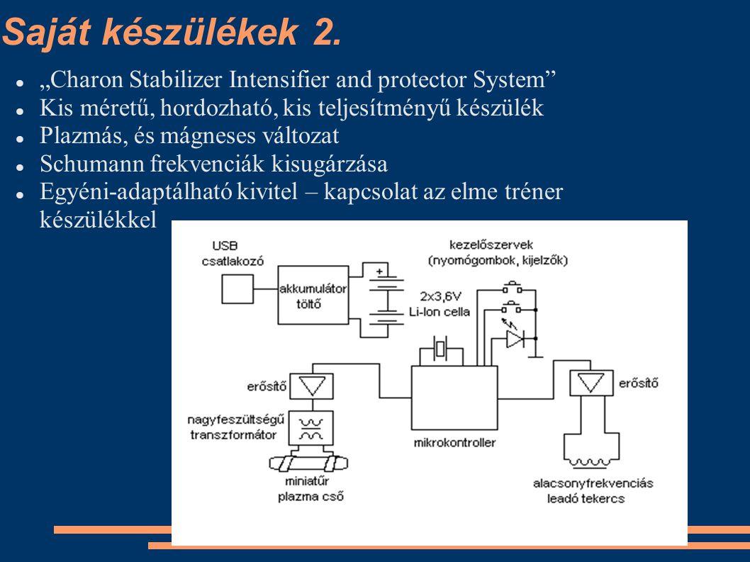 """Saját készülékek 2. """"Charon Stabilizer Intensifier and protector System Kis méretű, hordozható, kis teljesítményű készülék."""