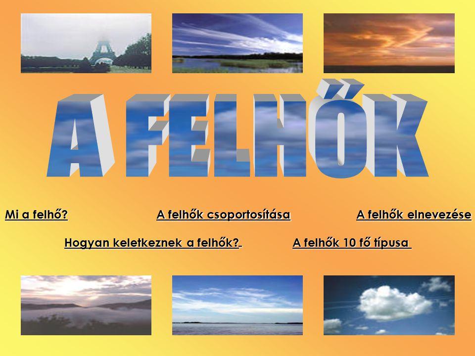 A FELHŐK Mi a felhő Hogyan keletkeznek a felhők A felhők 10 fő típusa. A felhők csoportosítása.