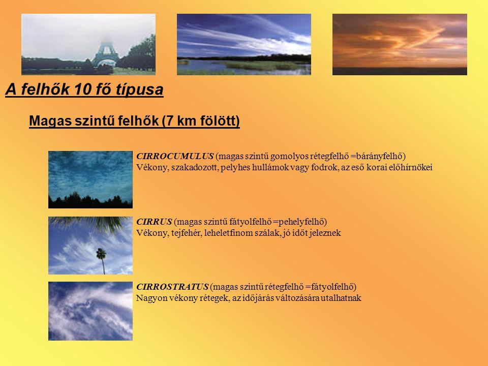 A felhők 10 fő típusa Magas szintű felhők (7 km fölött)
