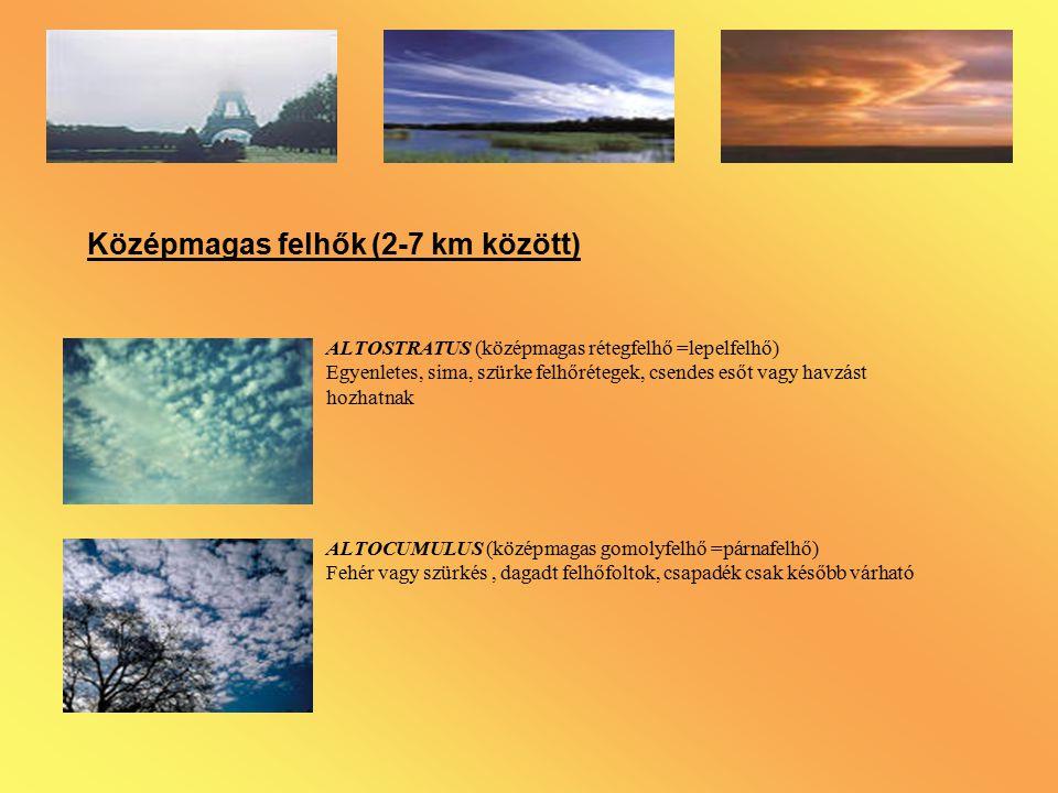 Középmagas felhők (2-7 km között)
