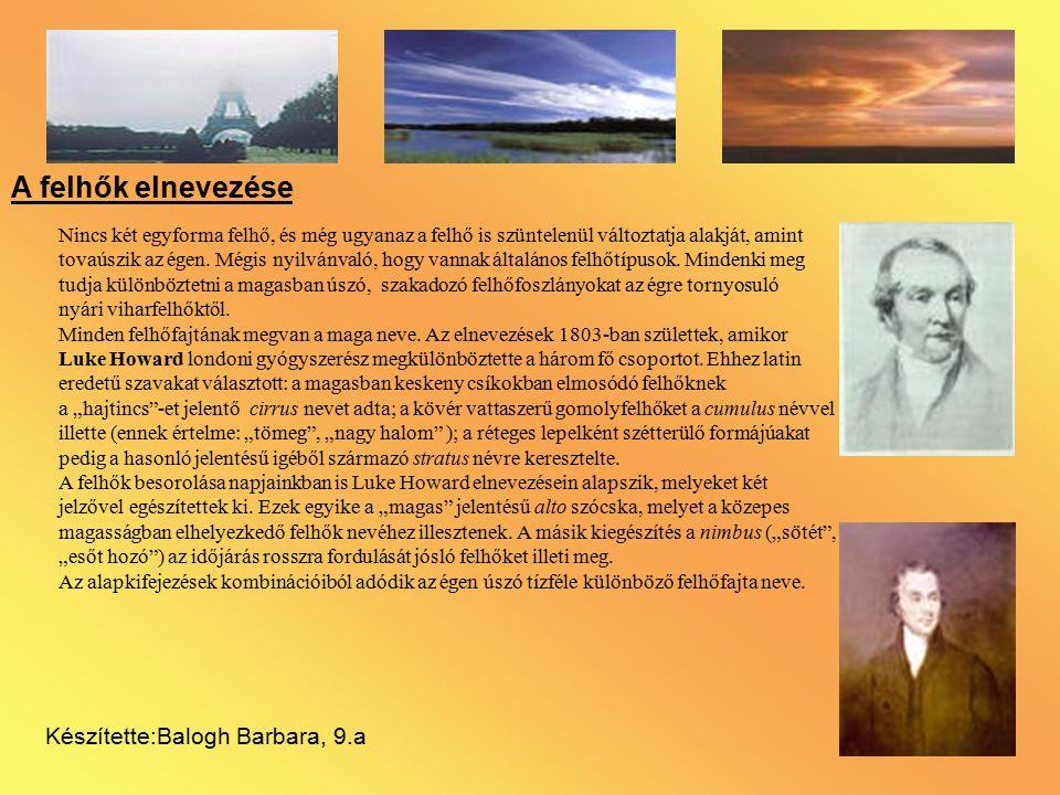 A felhők elnevezése Készítette:Balogh Barbara, 9.a