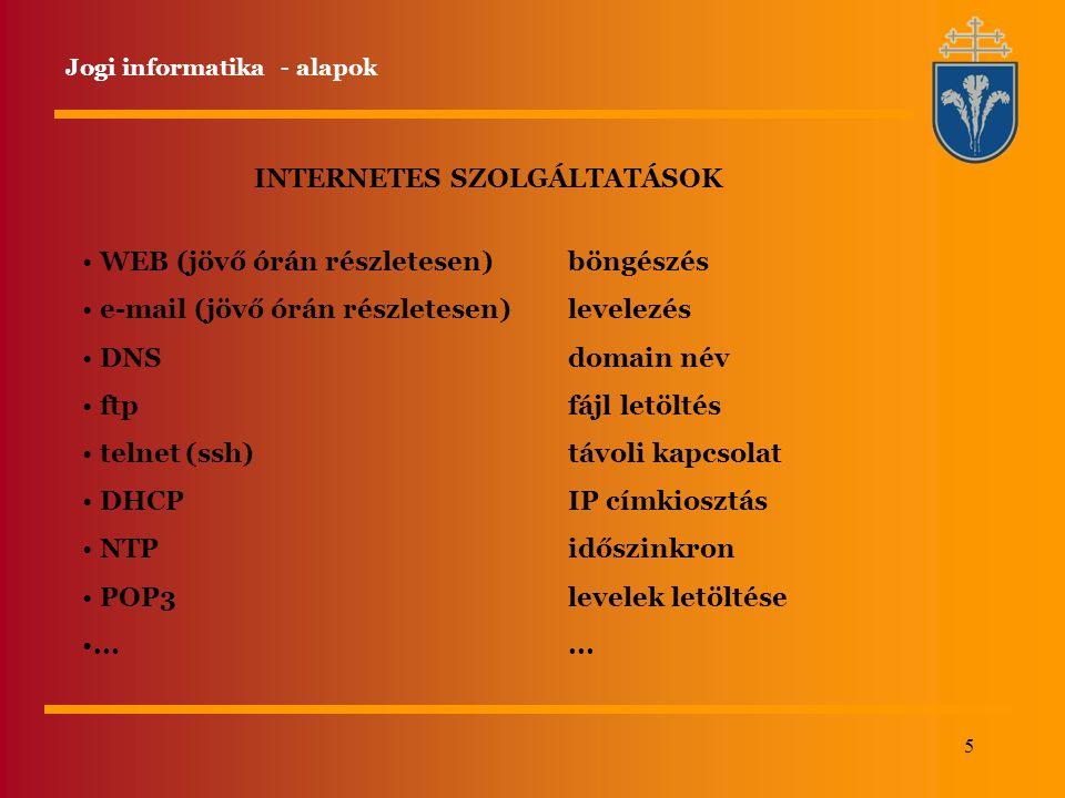 INTERNETES SZOLGÁLTATÁSOK
