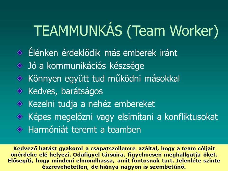 TEAMMUNKÁS (Team Worker)