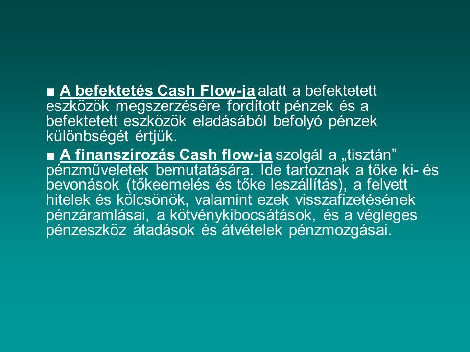 ■ A befektetés Cash Flow-ja alatt a befektetett eszközök megszerzésére fordított pénzek és a befektetett eszközök eladásából befolyó pénzek különbségét értjük.