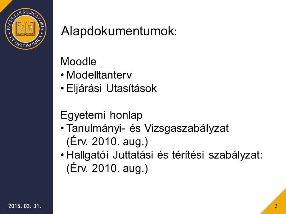 Alapdokumentumok: Moodle Modelltanterv Eljárási Utasítások