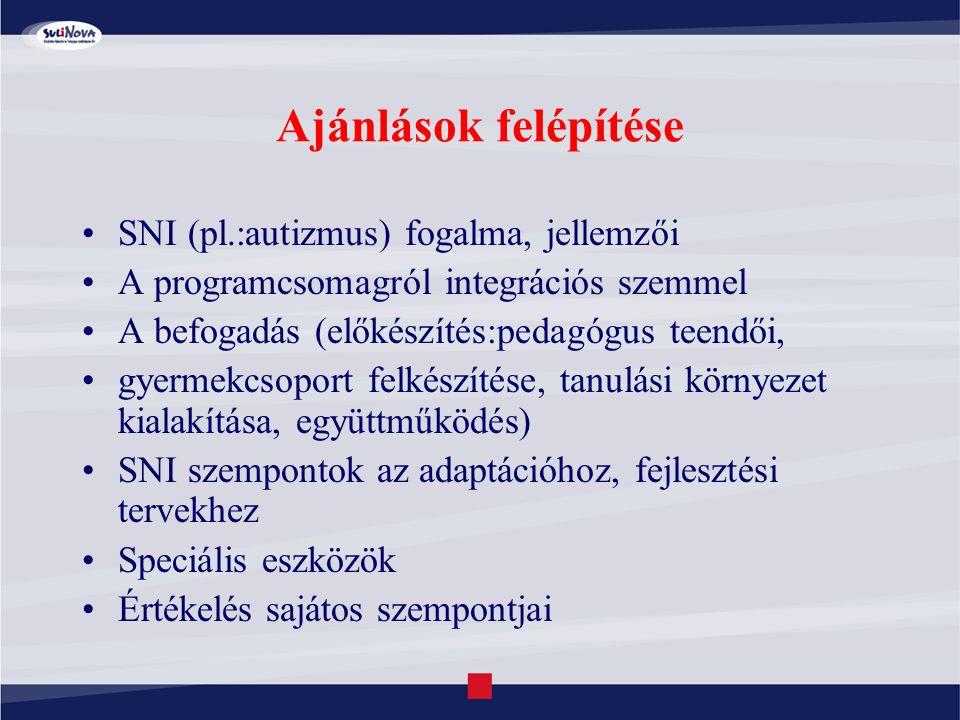 Ajánlások felépítése SNI (pl.:autizmus) fogalma, jellemzői