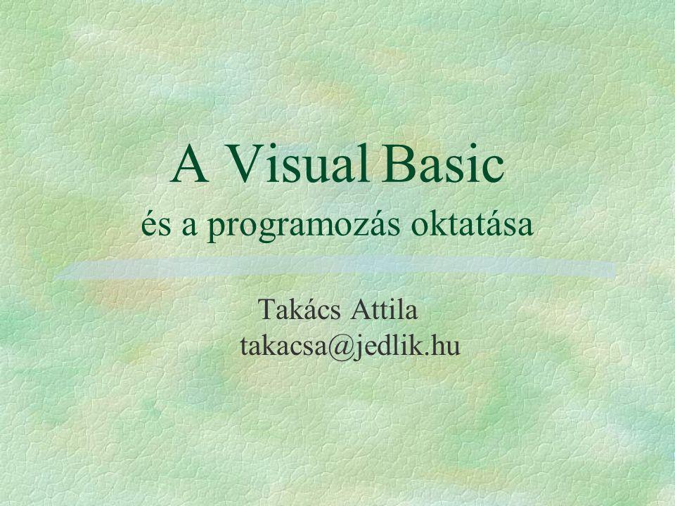 A Visual Basic és a programozás oktatása