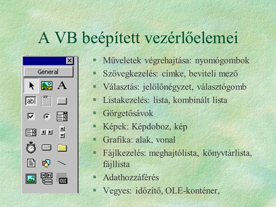 A VB beépített vezérlőelemei