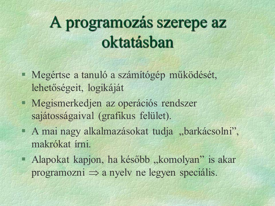 A programozás szerepe az oktatásban