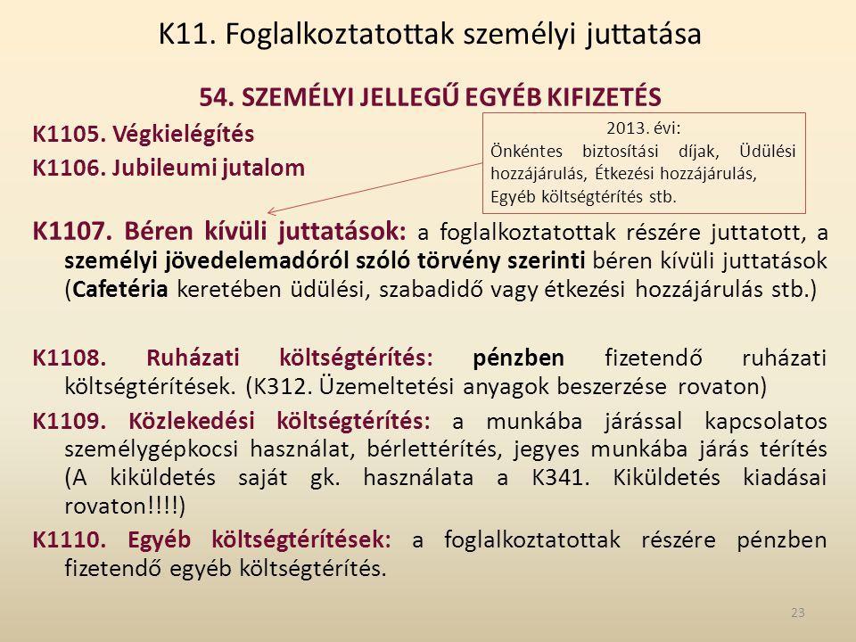 K11. Foglalkoztatottak személyi juttatása