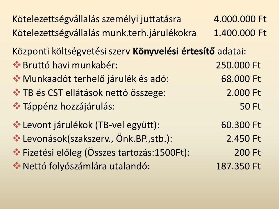 Kötelezettségvállalás személyi juttatásra 4.000.000 Ft