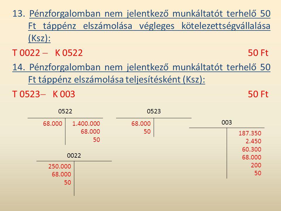13. Pénzforgalomban nem jelentkező munkáltatót terhelő 50 Ft táppénz elszámolása végleges kötelezettségvállalása (Ksz):