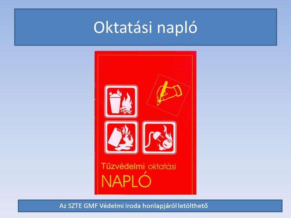 Oktatási napló Az SZTE GMF Védelmi Iroda honlapjáról letölthető