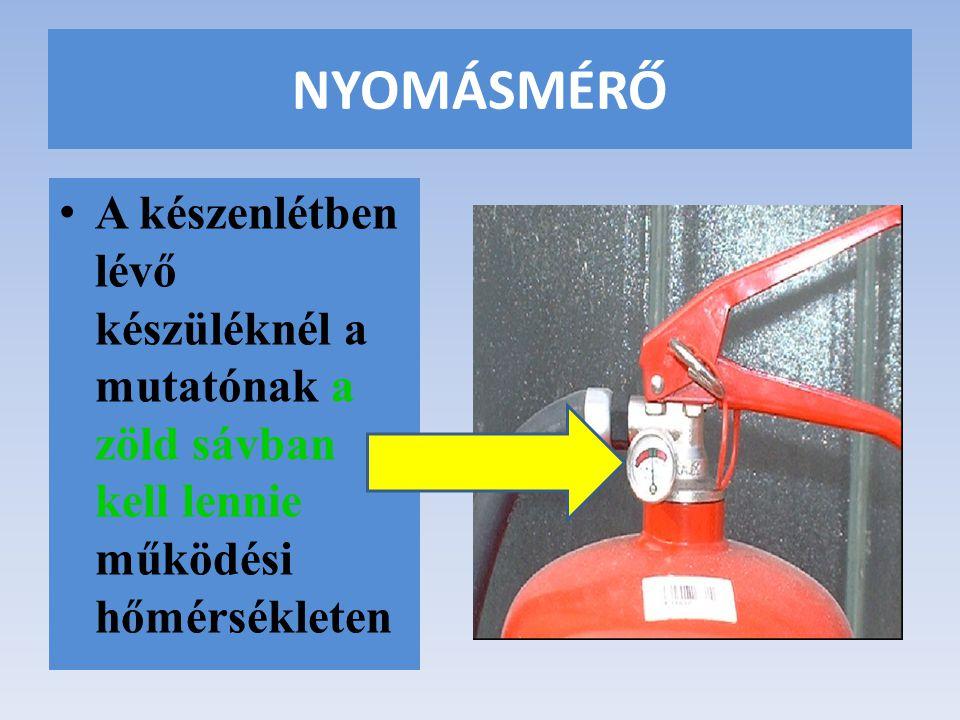 NYOMÁSMÉRŐ A készenlétben lévő készüléknél a mutatónak a zöld sávban kell lennie működési hőmérsékleten.