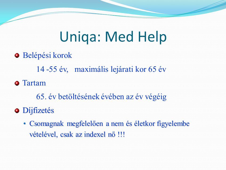 Uniqa: Med Help Belépési korok 14 -55 év, maximális lejárati kor 65 év