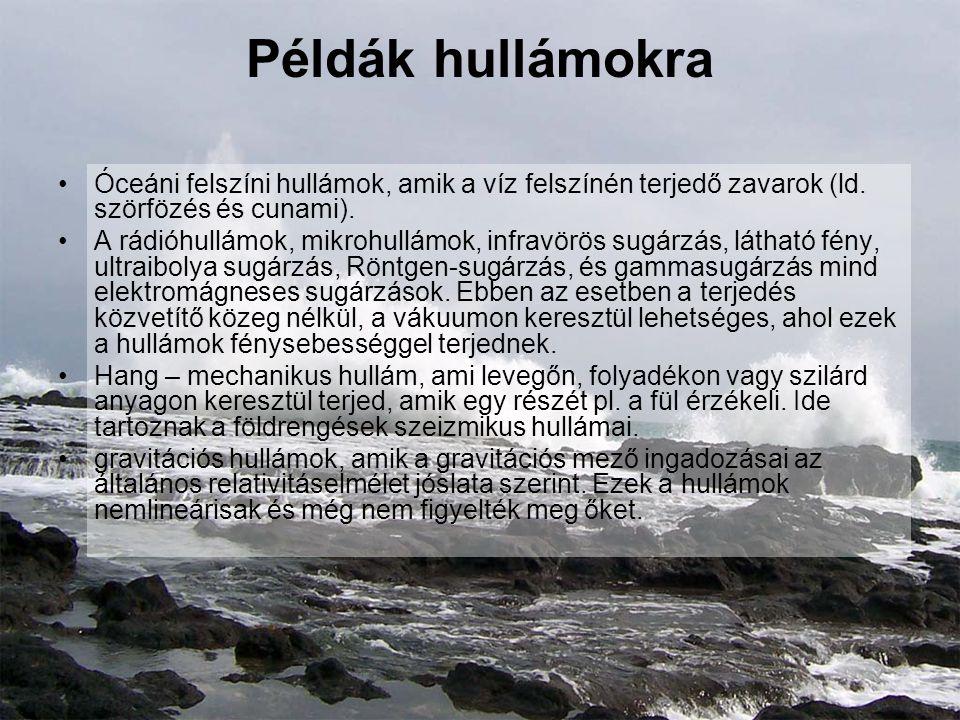 Példák hullámokra Óceáni felszíni hullámok, amik a víz felszínén terjedő zavarok (ld. szörfözés és cunami).