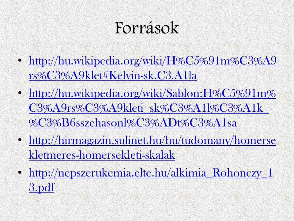 Források http://hu.wikipedia.org/wiki/H%C5%91m%C3%A9rs%C3%A9klet#Kelvin-sk.C3.A1la.