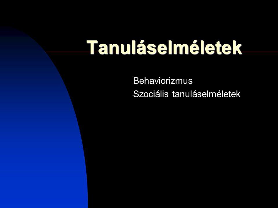 Behaviorizmus Szociális tanuláselméletek