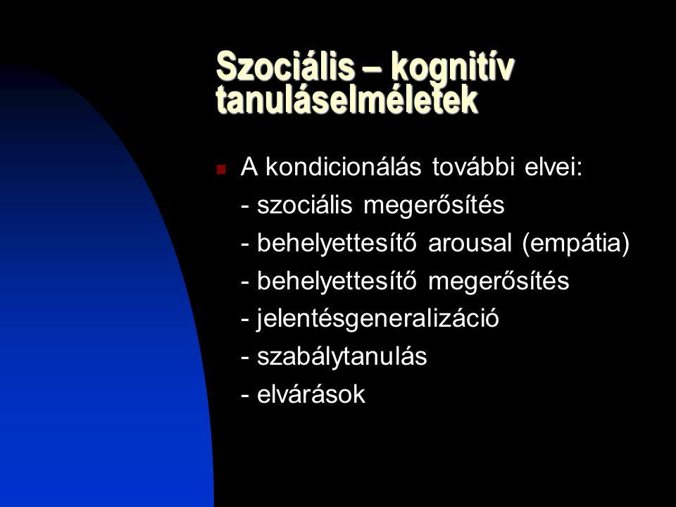 Szociális – kognitív tanuláselméletek