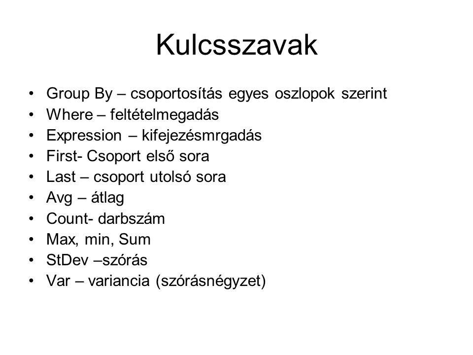 Kulcsszavak Group By – csoportosítás egyes oszlopok szerint