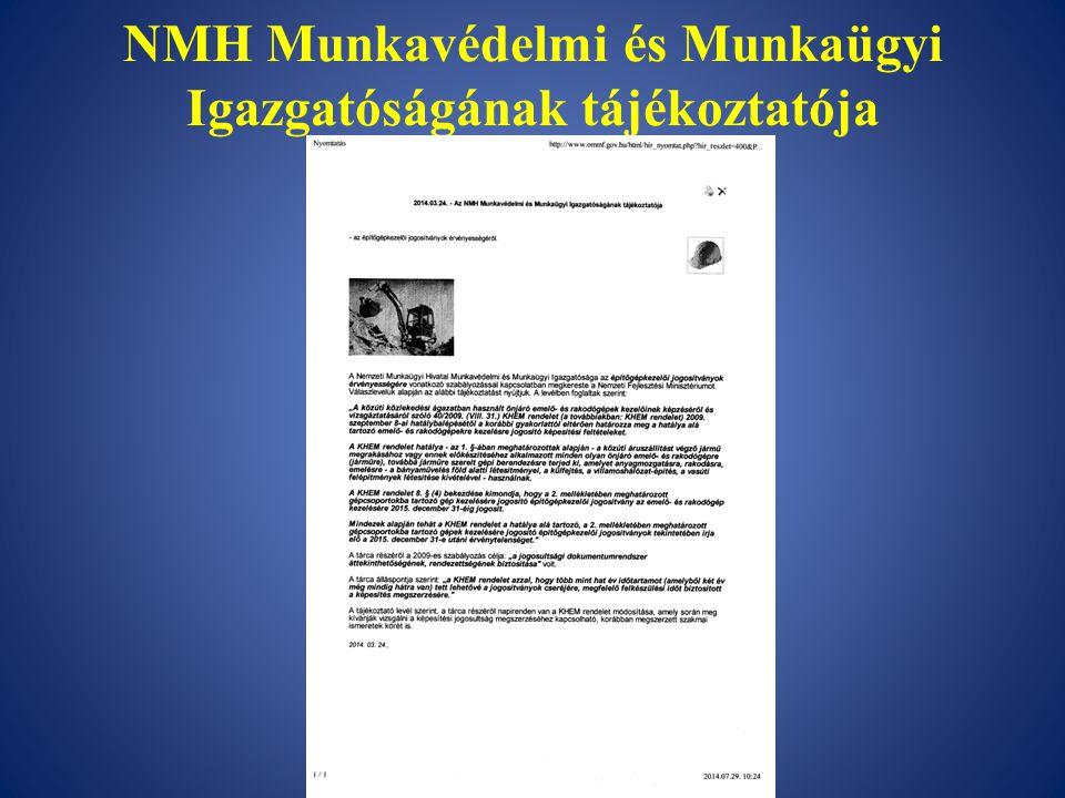 NMH Munkavédelmi és Munkaügyi Igazgatóságának tájékoztatója