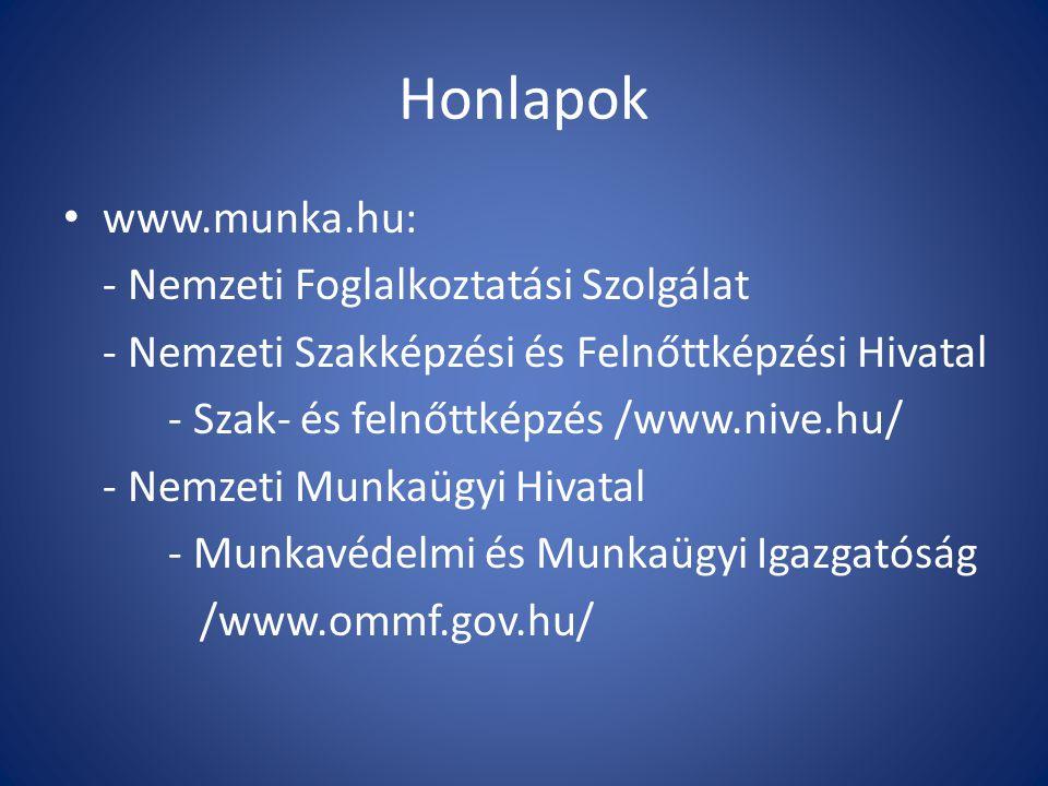 Honlapok www.munka.hu: - Nemzeti Foglalkoztatási Szolgálat