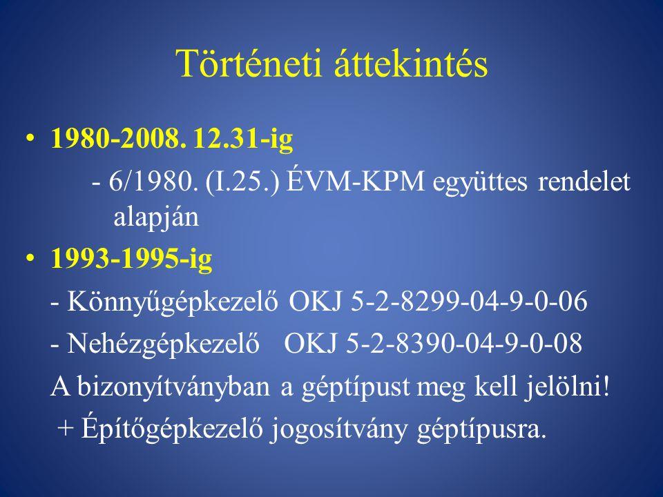 Történeti áttekintés 1980-2008. 12.31-ig