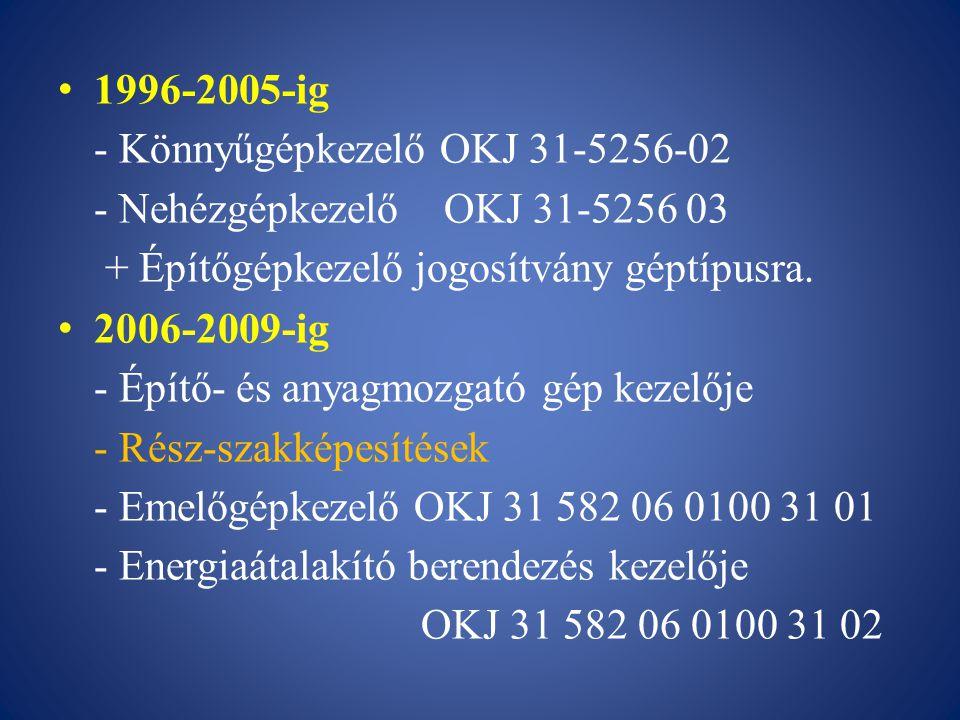 1996-2005-ig - Könnyűgépkezelő OKJ 31-5256-02. - Nehézgépkezelő OKJ 31-5256 03. + Építőgépkezelő jogosítvány géptípusra.