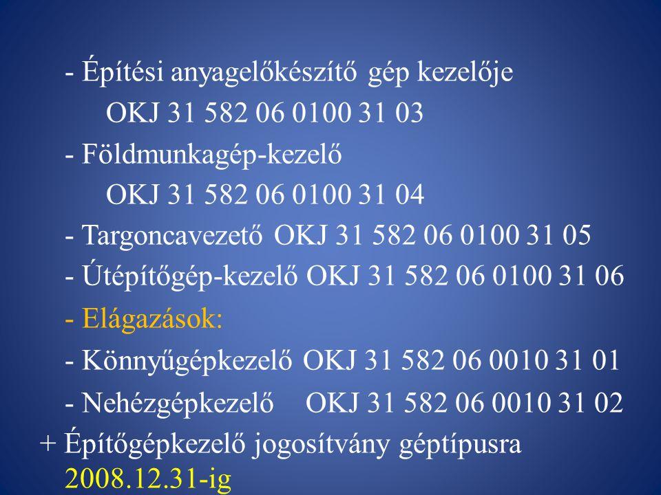 - Építési anyagelőkészítő gép kezelője OKJ 31 582 06 0100 31 03 - Földmunkagép-kezelő OKJ 31 582 06 0100 31 04 - Targoncavezető OKJ 31 582 06 0100 31 05 - Útépítőgép-kezelő OKJ 31 582 06 0100 31 06 - Elágazások: - Könnyűgépkezelő OKJ 31 582 06 0010 31 01 - Nehézgépkezelő OKJ 31 582 06 0010 31 02 + Építőgépkezelő jogosítvány géptípusra 2008.12.31-ig