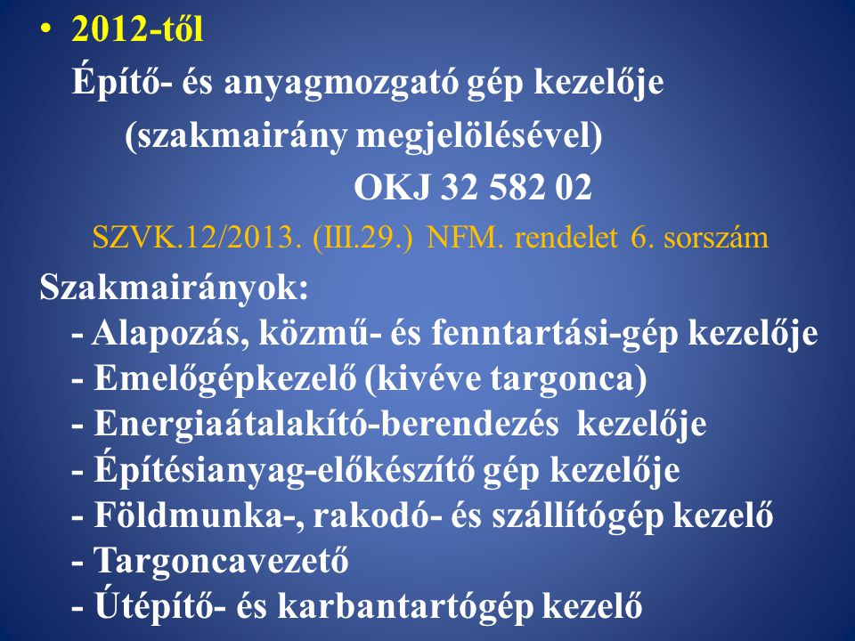 SZVK.12/2013. (III.29.) NFM. rendelet 6. sorszám