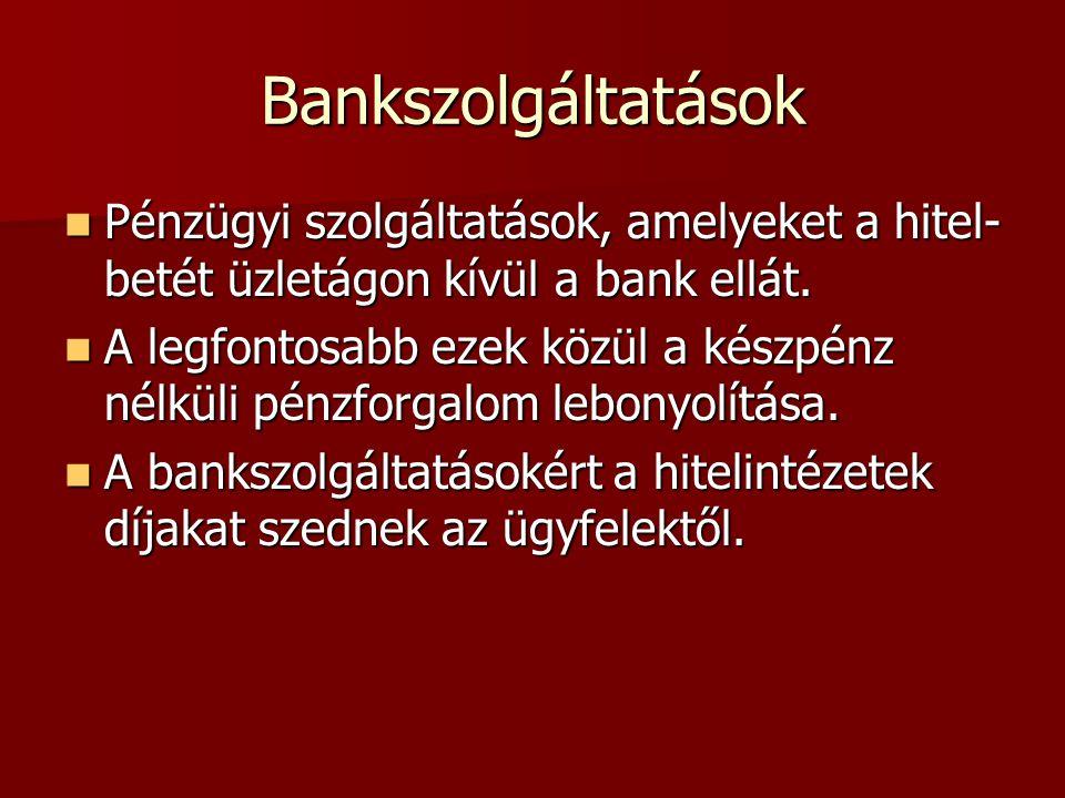Bankszolgáltatások Pénzügyi szolgáltatások, amelyeket a hitel-betét üzletágon kívül a bank ellát.