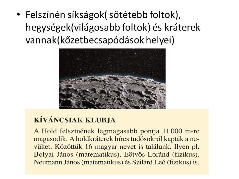Felszínén síkságok( sötétebb foltok), hegységek(világosabb foltok) és kráterek vannak(kőzetbecsapódások helyei)