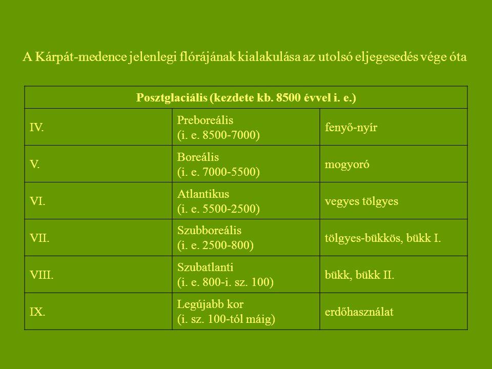 Posztglaciális (kezdete kb. 8500 évvel i. e.)