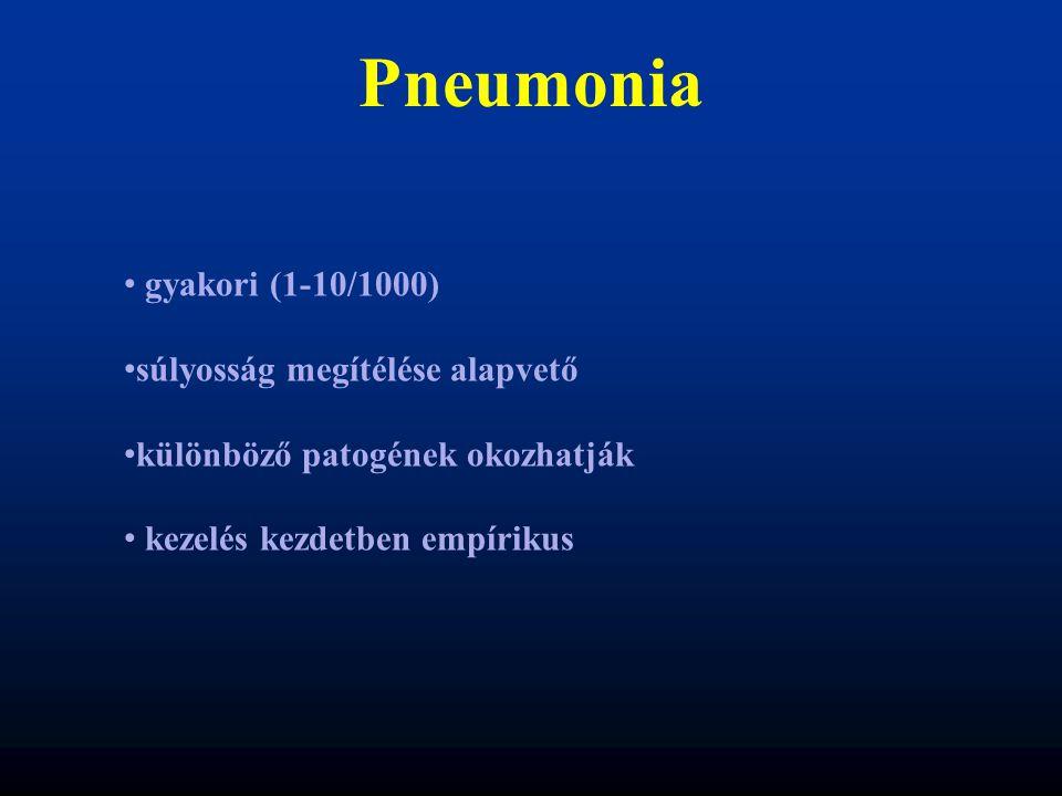 Pneumonia gyakori (1-10/1000) súlyosság megítélése alapvető