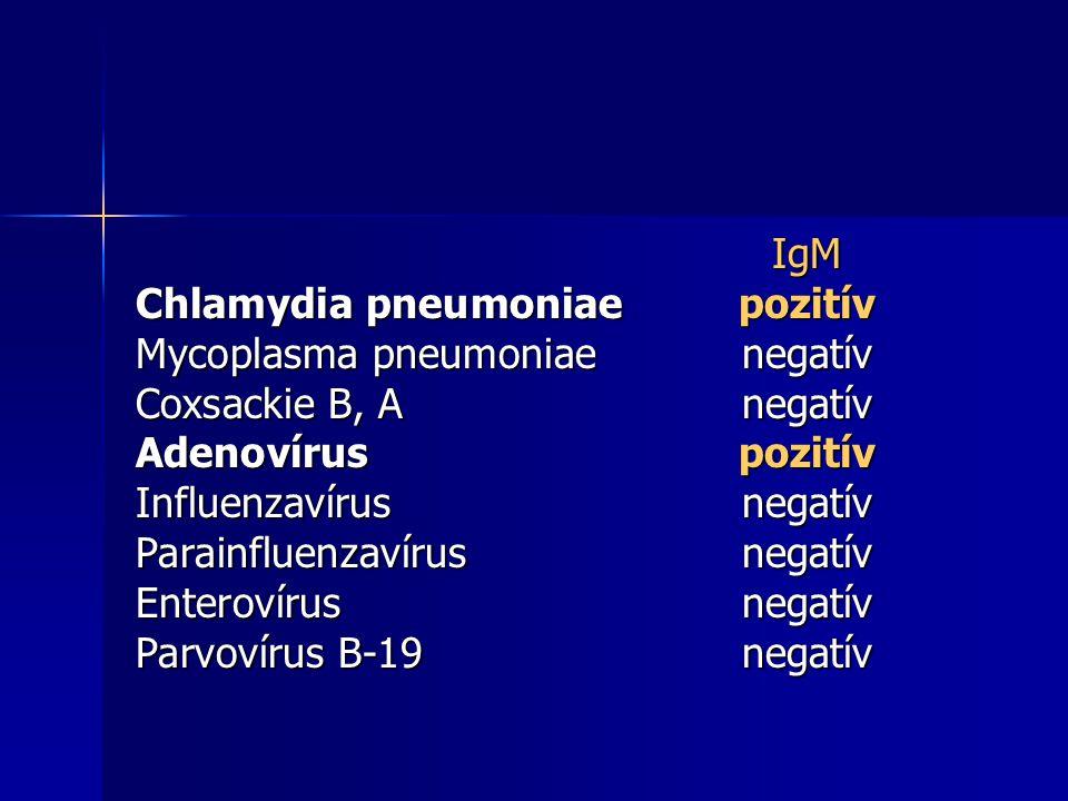 IgM Chlamydia pneumoniae pozitív. Mycoplasma pneumoniae negatív. Coxsackie B, A negatív. Adenovírus pozitív.